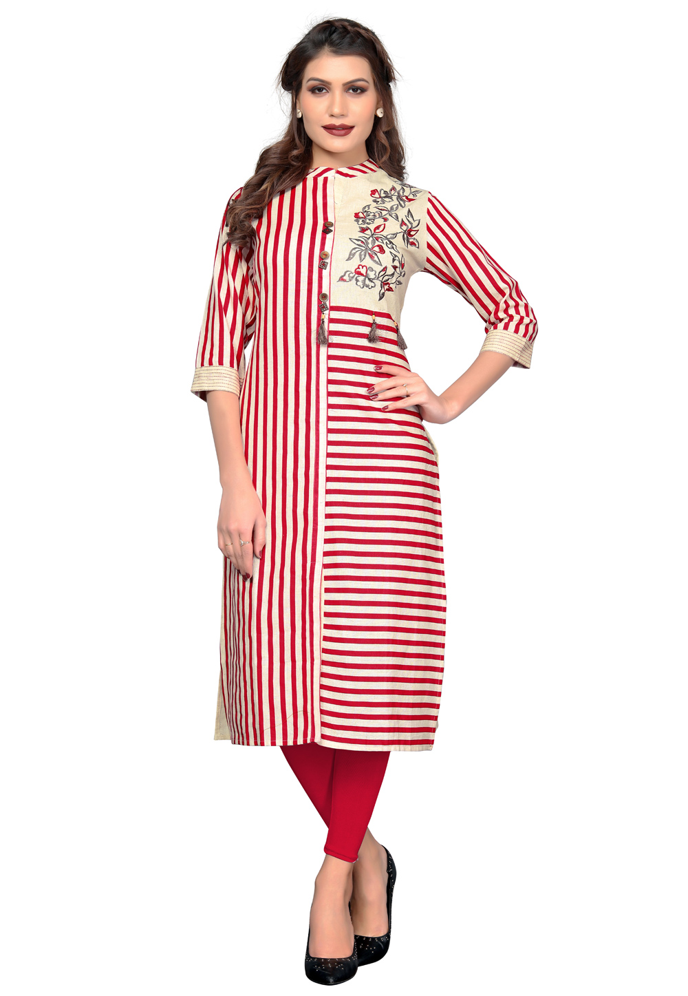 Cream Cotton Readymade Kurti 162243