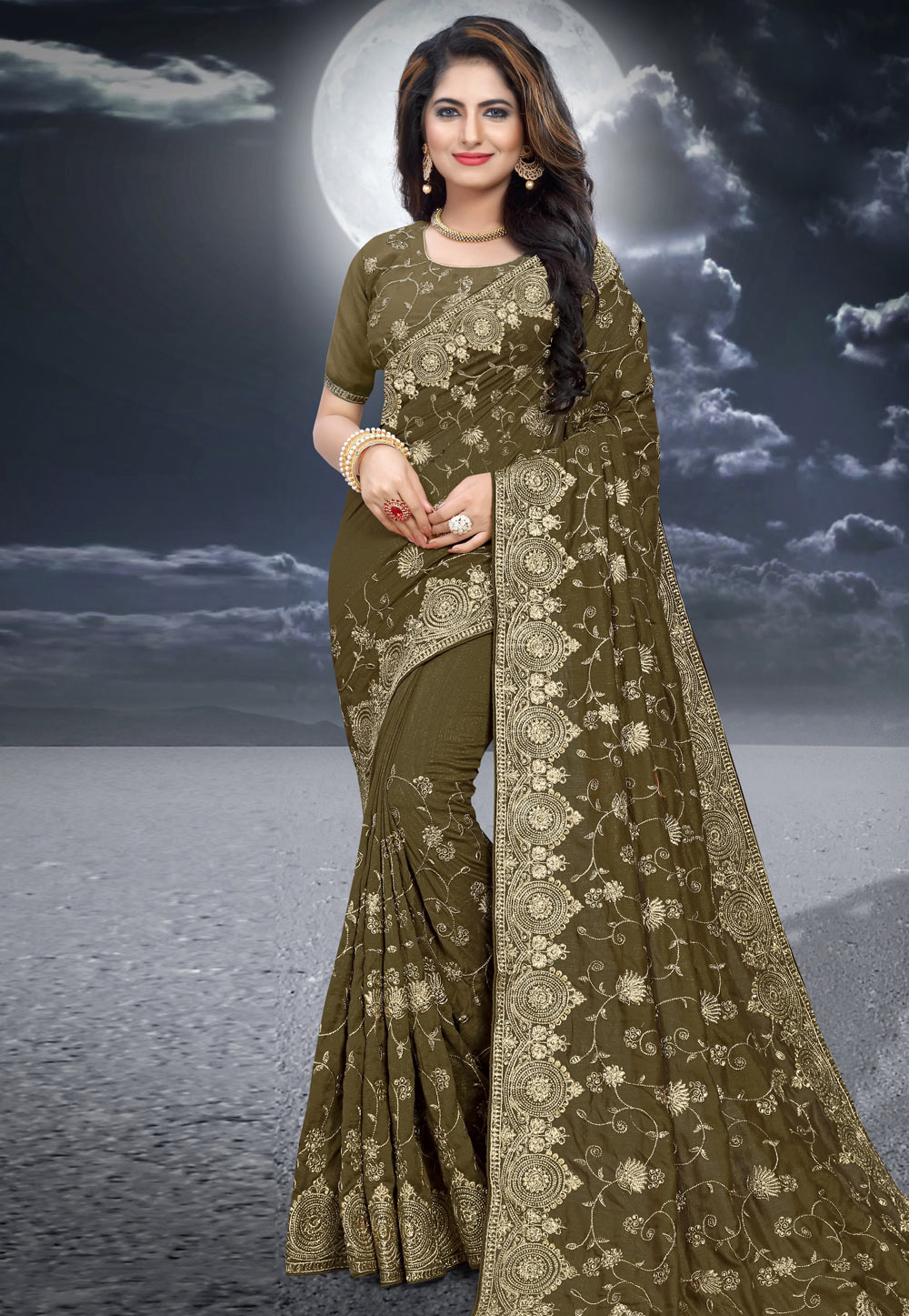 Mehndi Silk Festival Wear Saree 204519