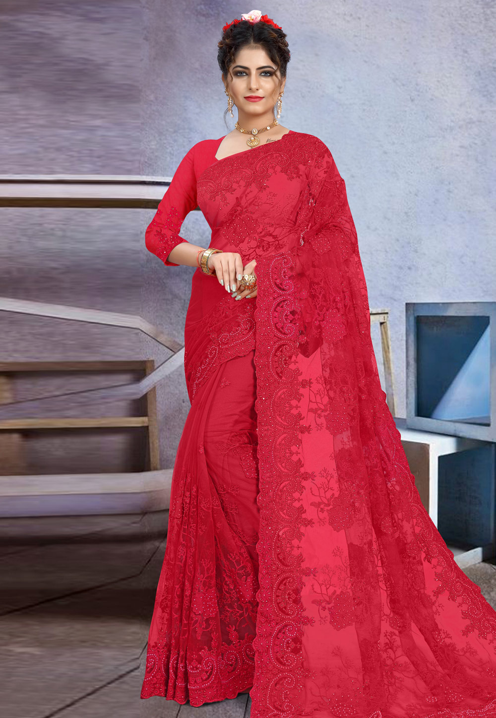 Red Net Festival Wear Saree 205168