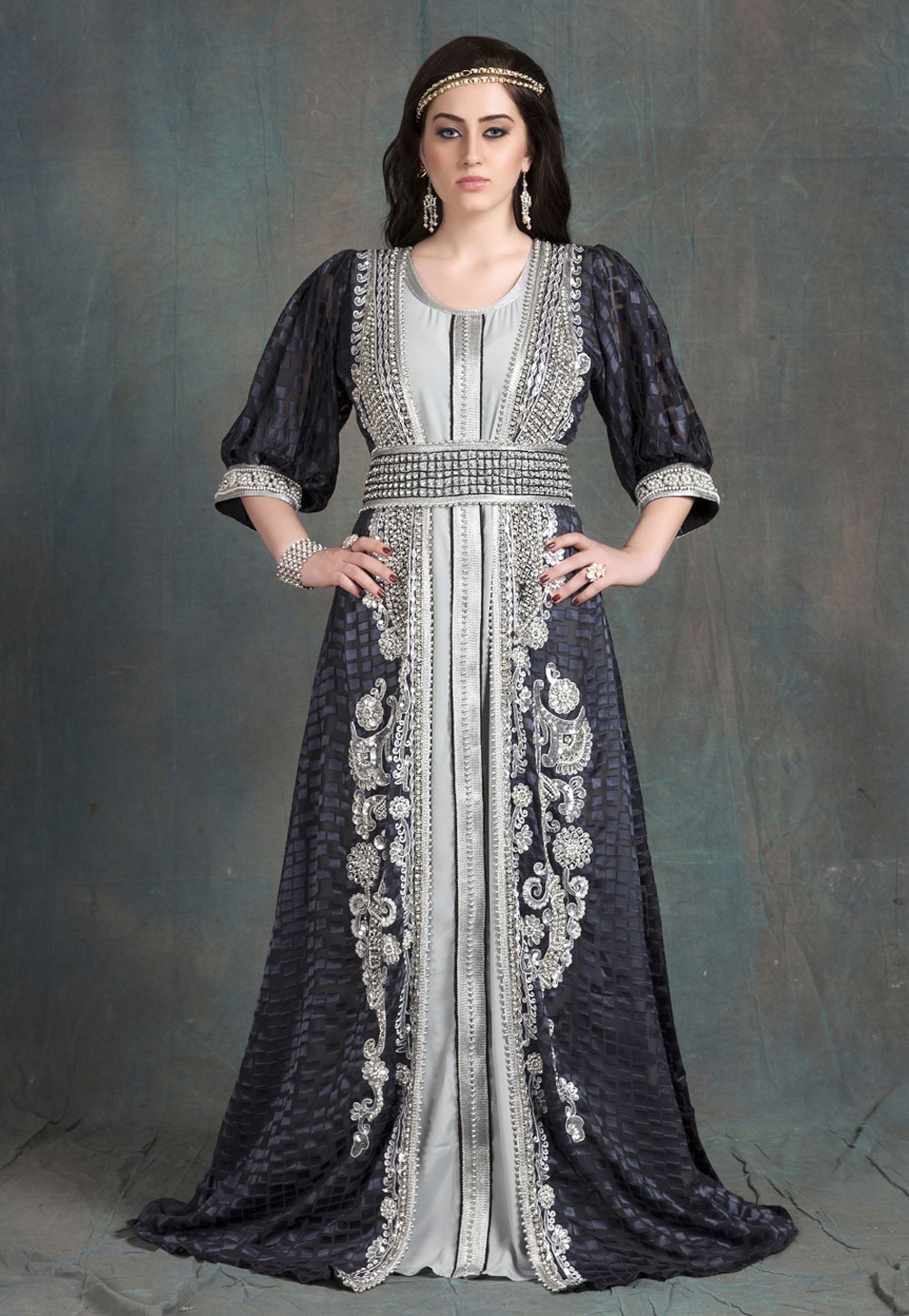 Dark Grey Brasso Embroidered Readymade Kaftan 194134