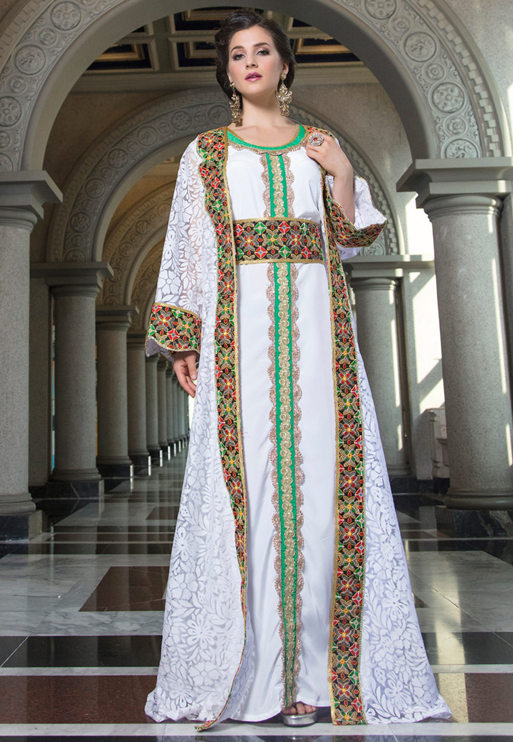 Off White Net Embroidered Readymade Kaftan 194144