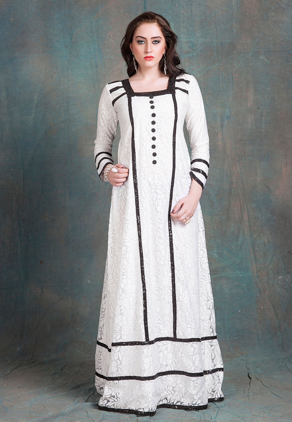 Off White Net Embroidered Readymade Kaftan 194156