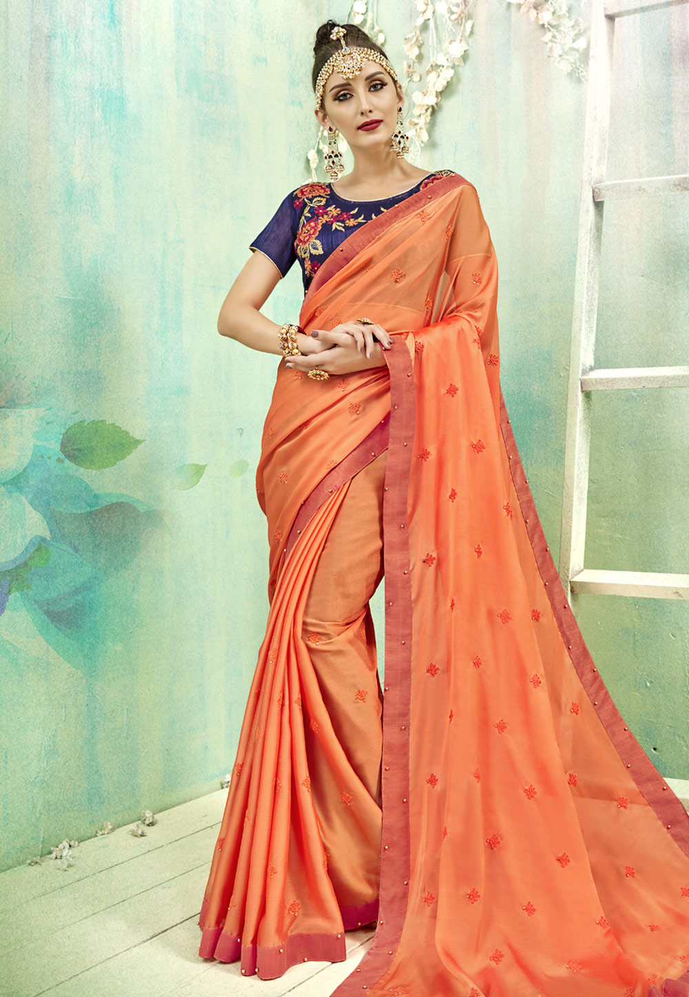 Orange Georgette Festival Wear Saree 163486