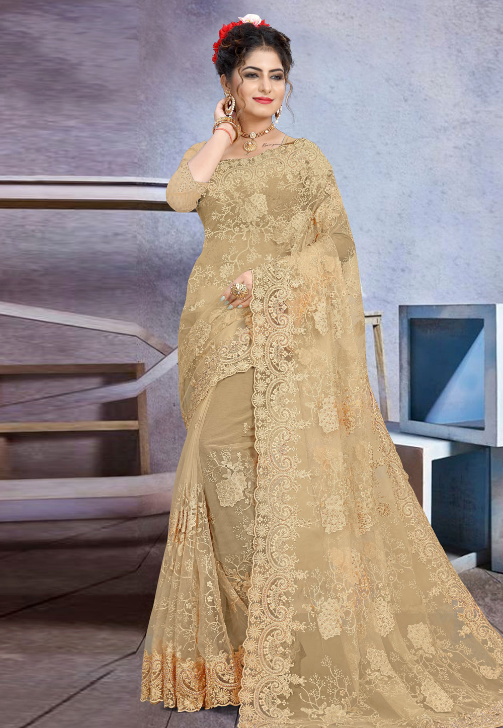 Beige Net Festival Wear Saree 205174