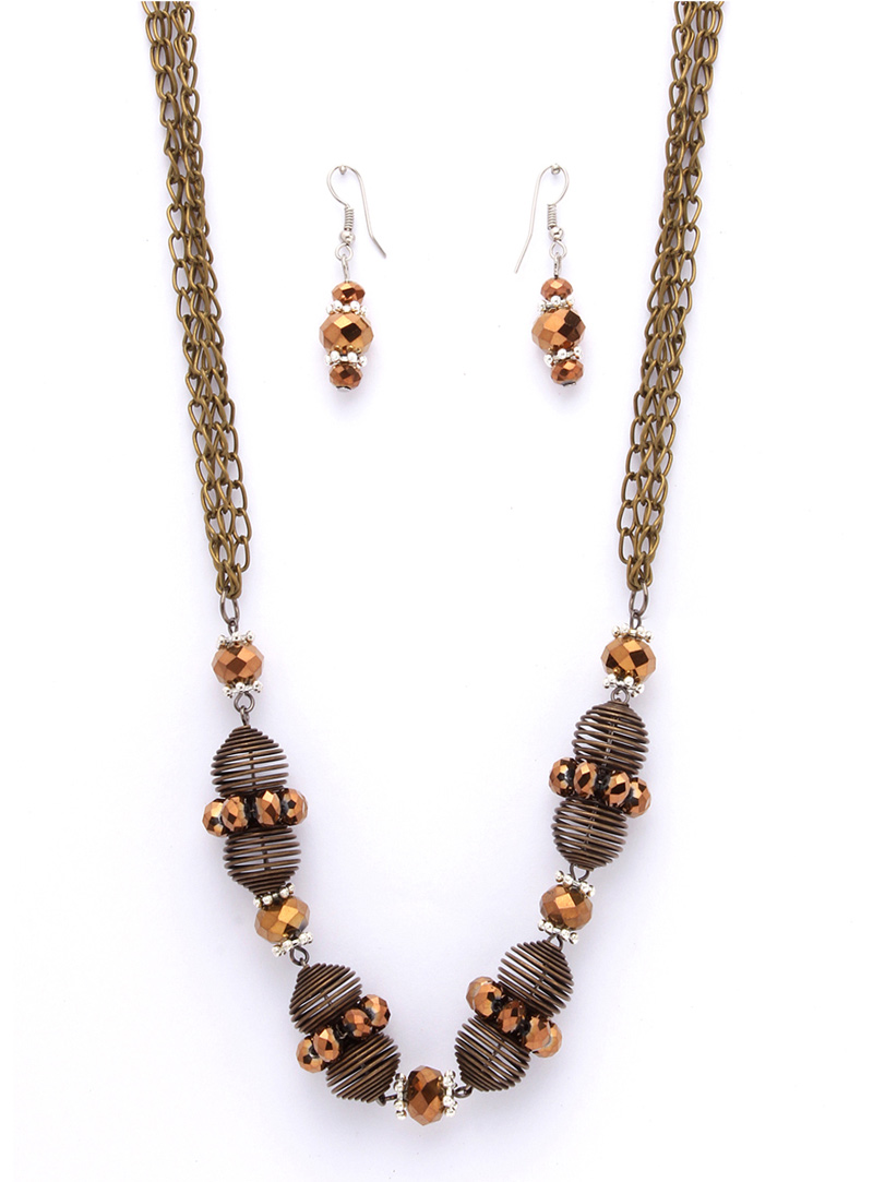 Oxidize Alloy Crystal Stones Necklace With Earrings 103605