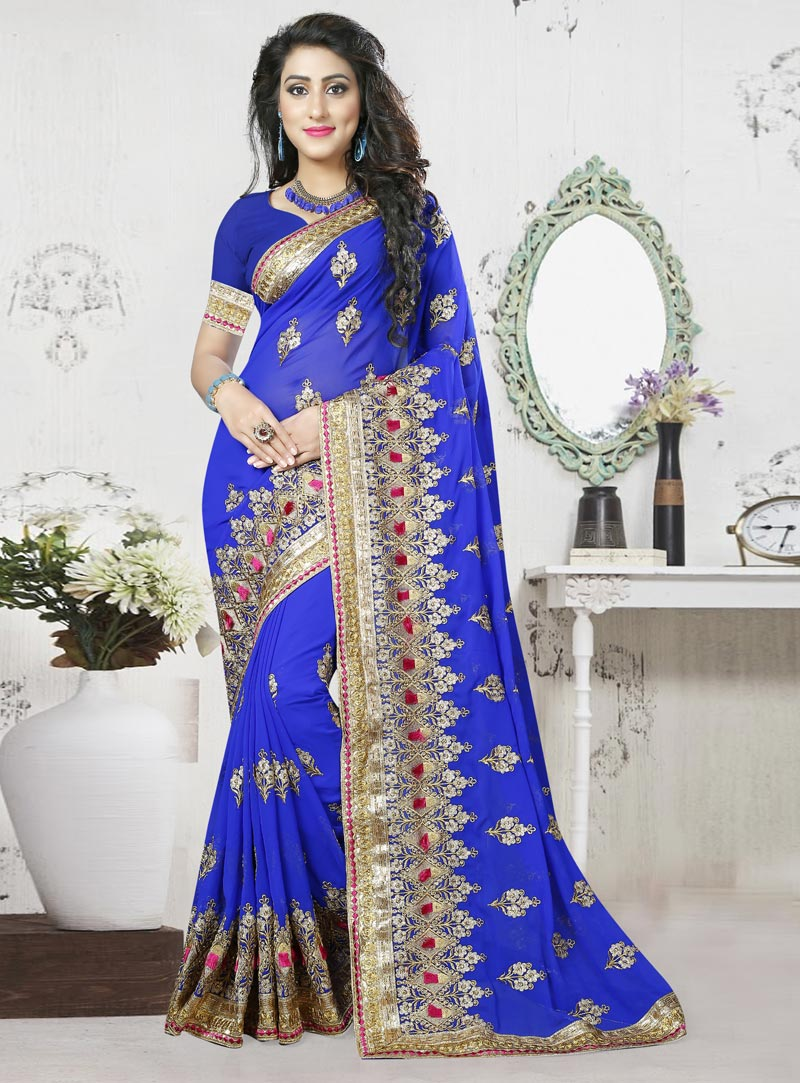 Blue Georgette Embroidery Work Saree 82768