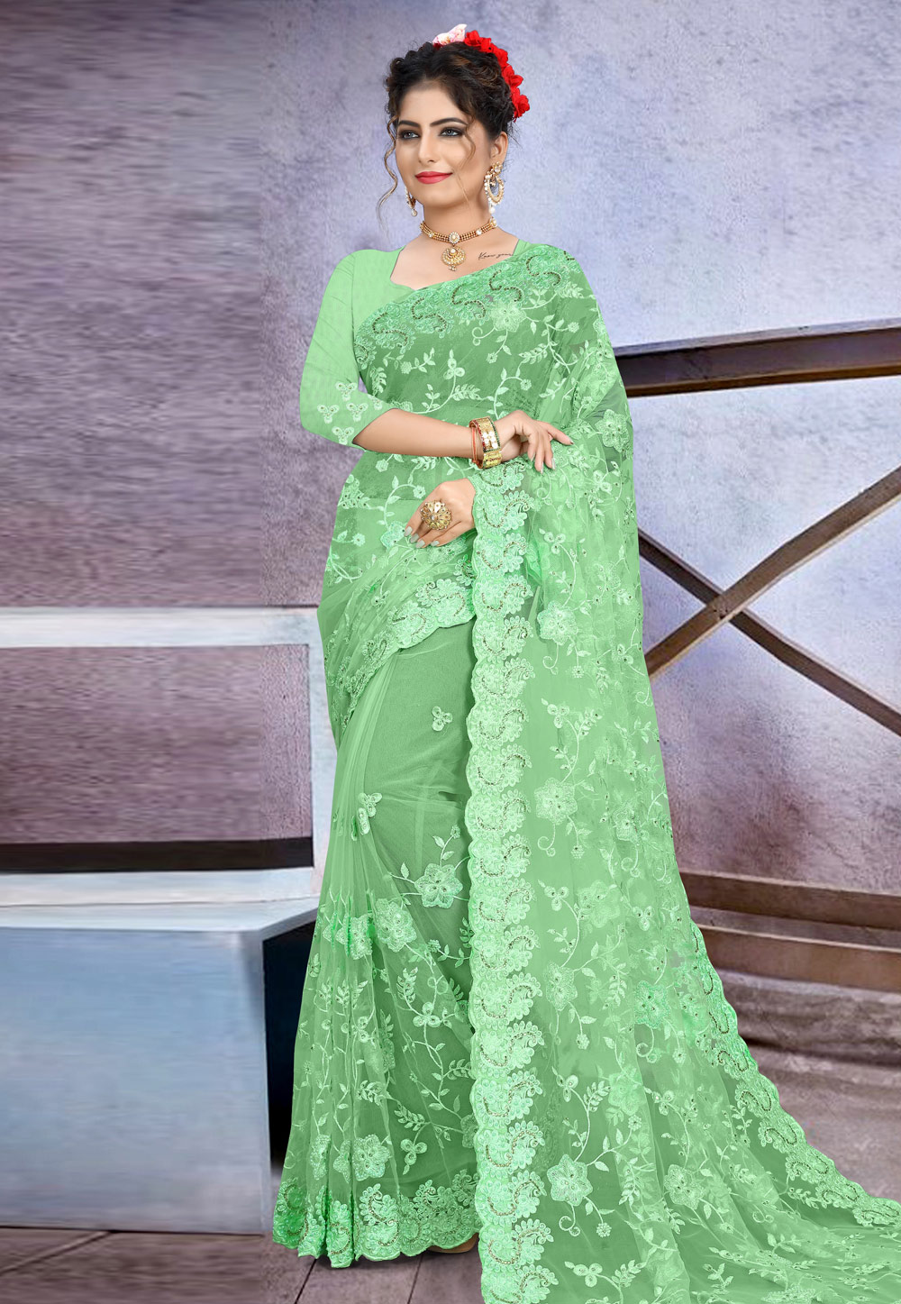Light Green Net Saree With Blouse 205179