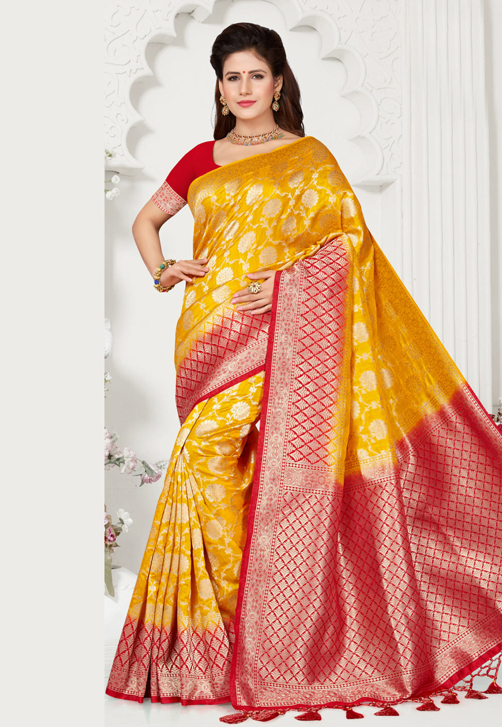 Yellow Silk Festival Wear Saree 163680