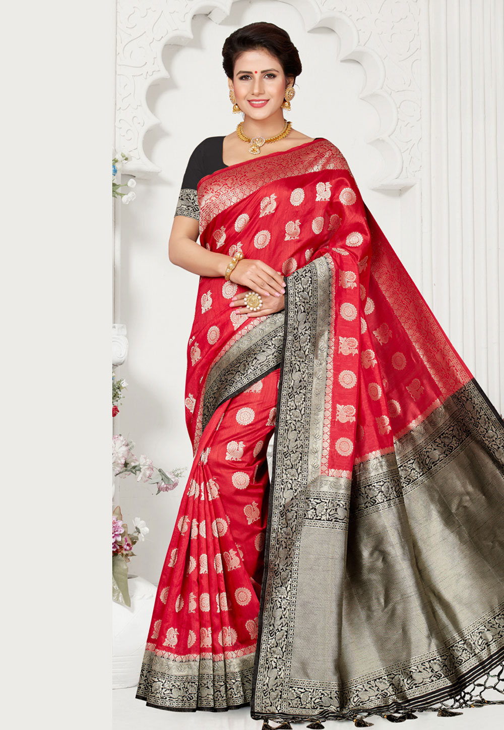 Red Silk Saree With Blouse 163681