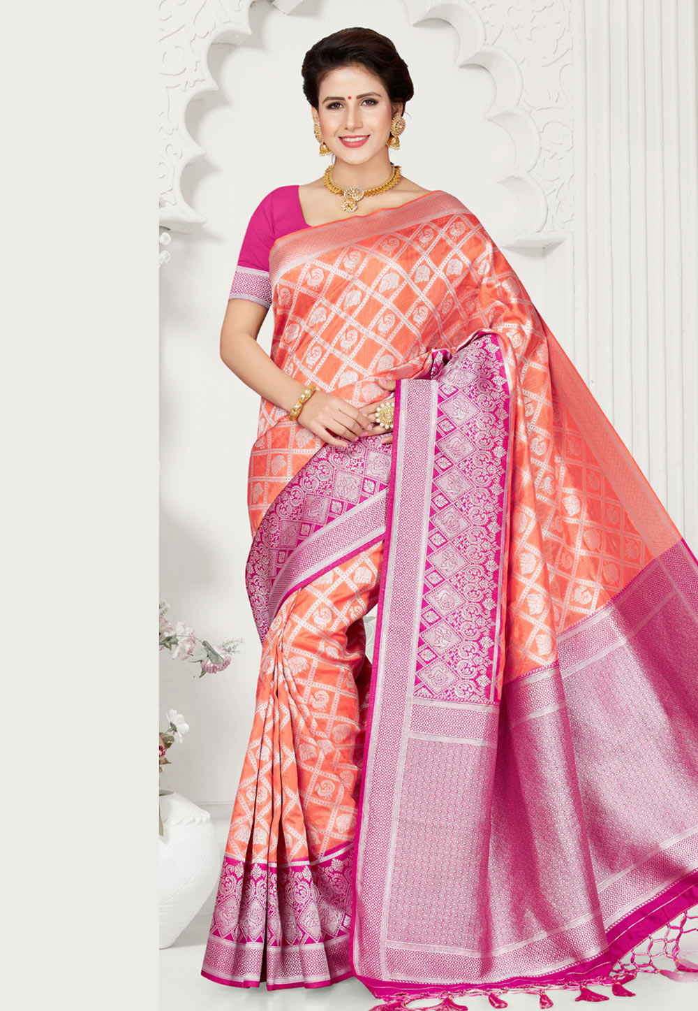 Peach Silk Festival Wear Saree 163687