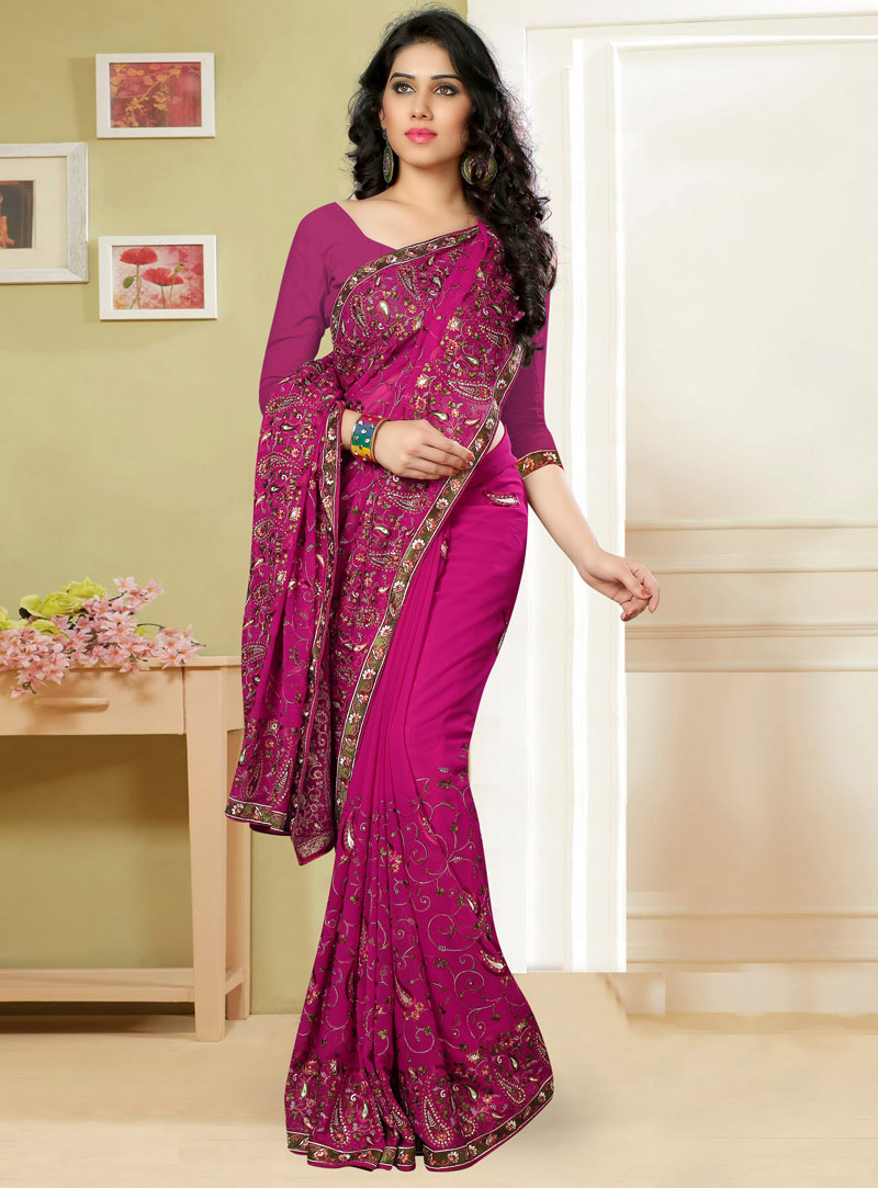Magenta Georgette Festival Wear Saree 82772