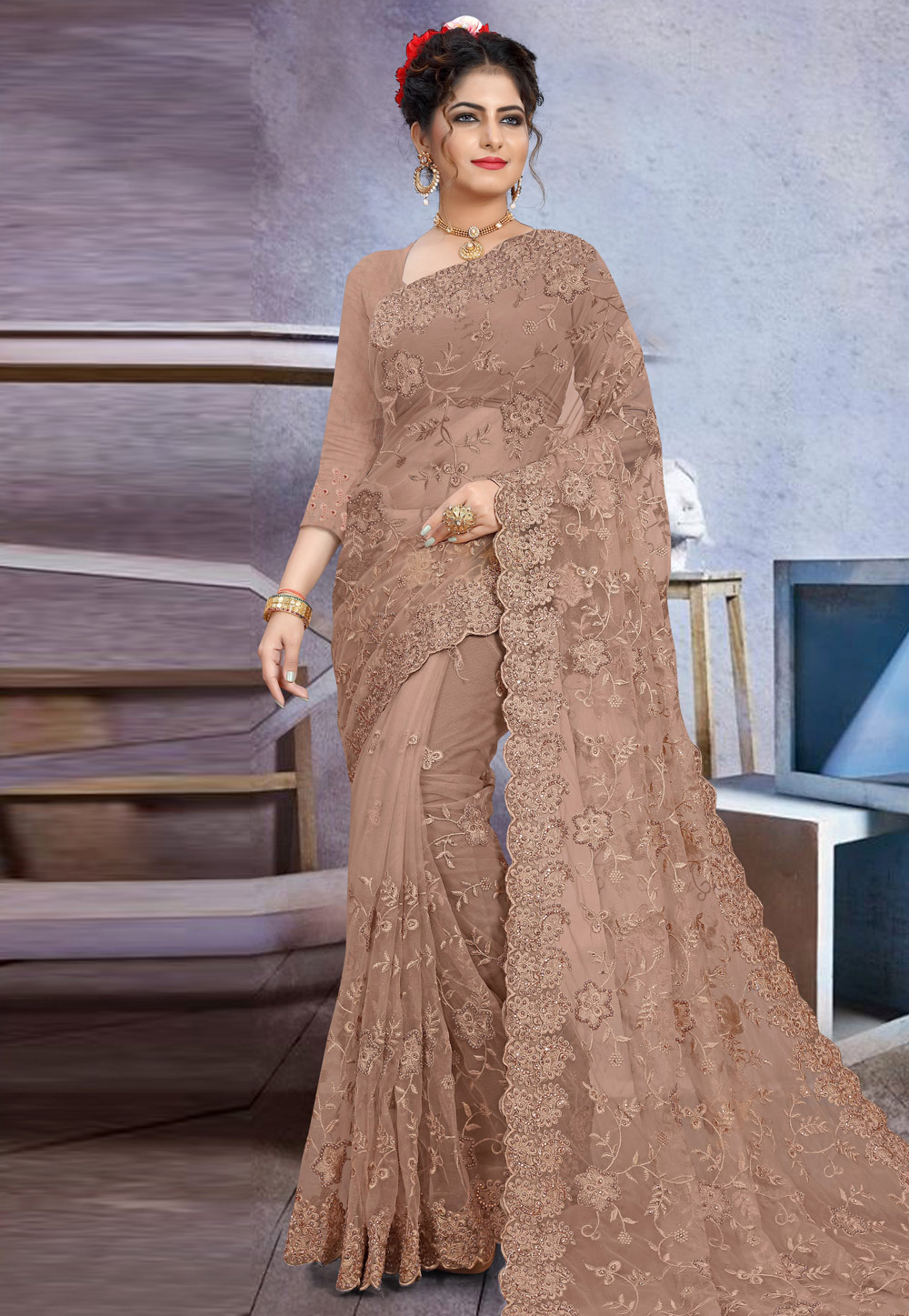 Light Brown Net Saree With Blouse 205183