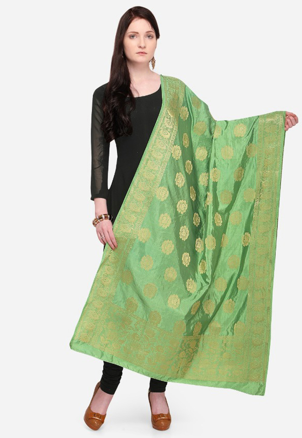 Light Green Banarasi Dupatta 164336