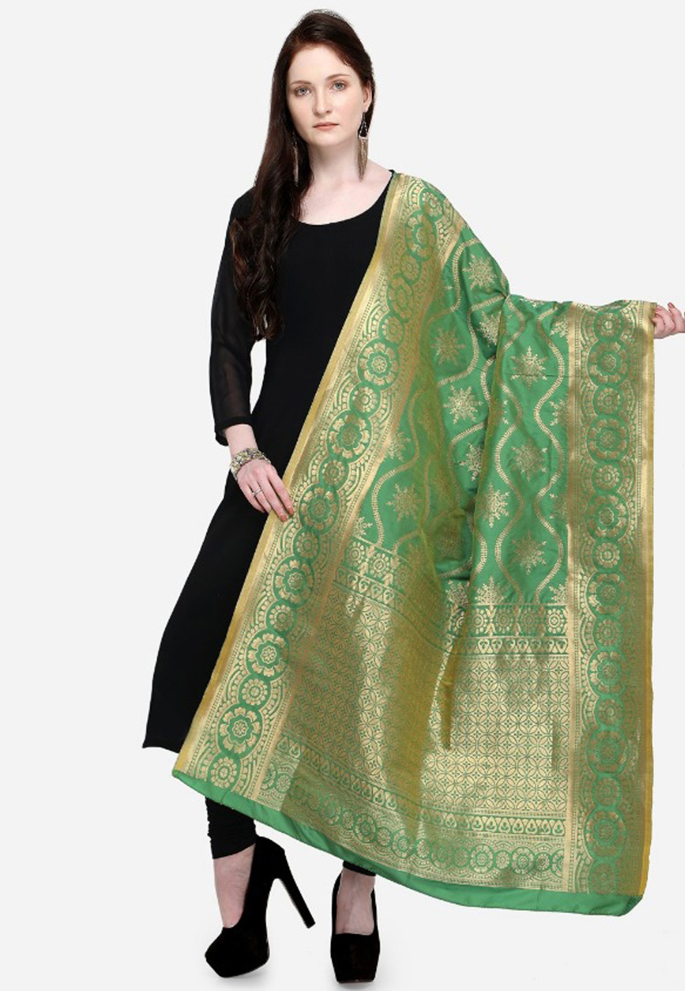 Sea Green Banarasi Dupatta 164345