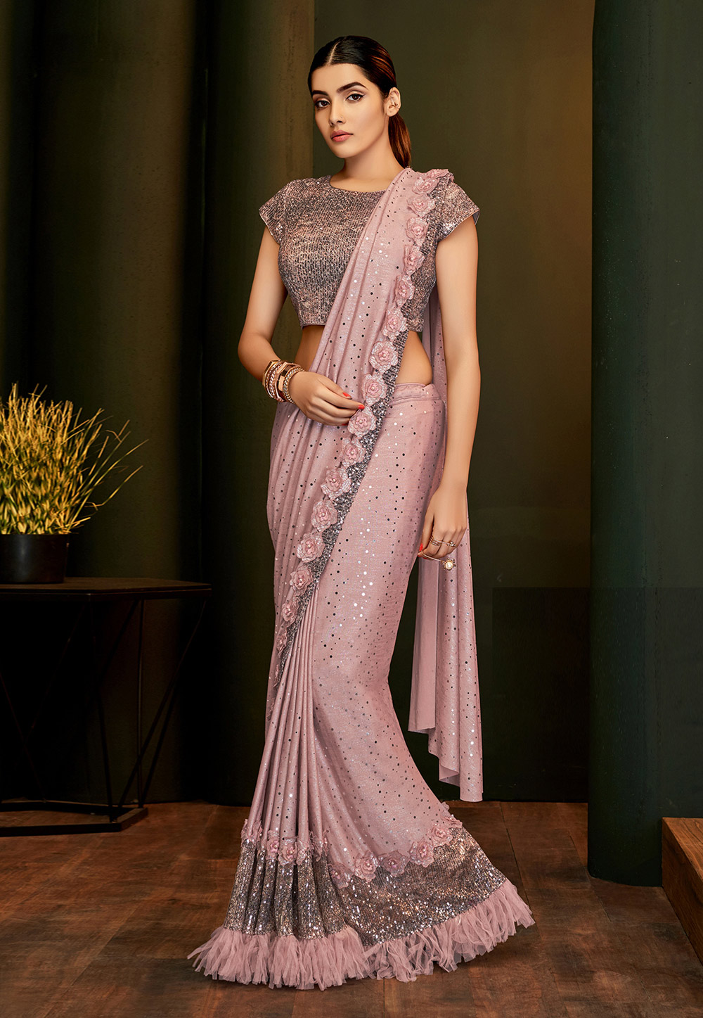Pink Lycra Frilled Party Wear Saree 201662