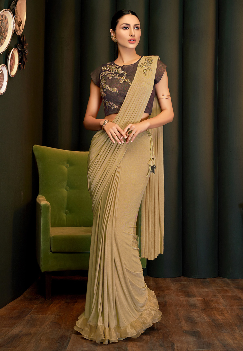 Beige Lycra Party Wear Saree 201665