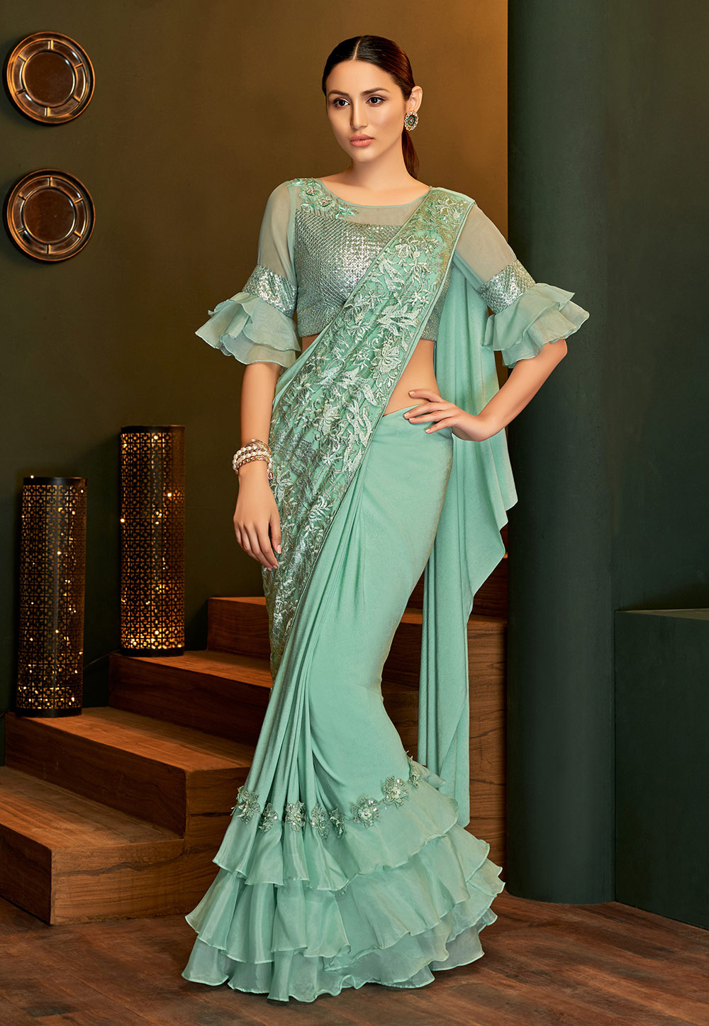 Sea Green Lycra Frilled Party Wear Saree 201669