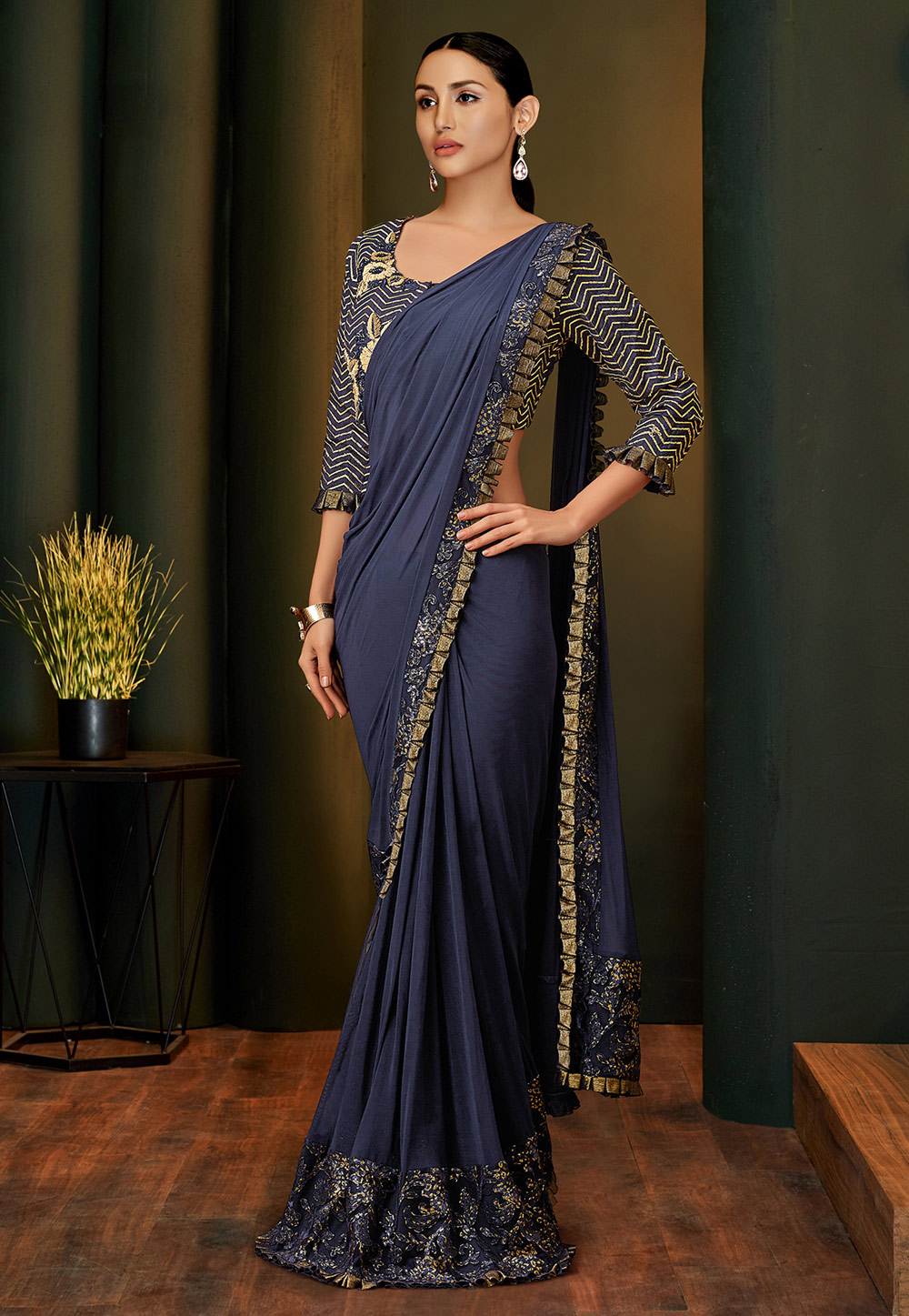 Navy Blue Lycra Party Wear Saree 201679