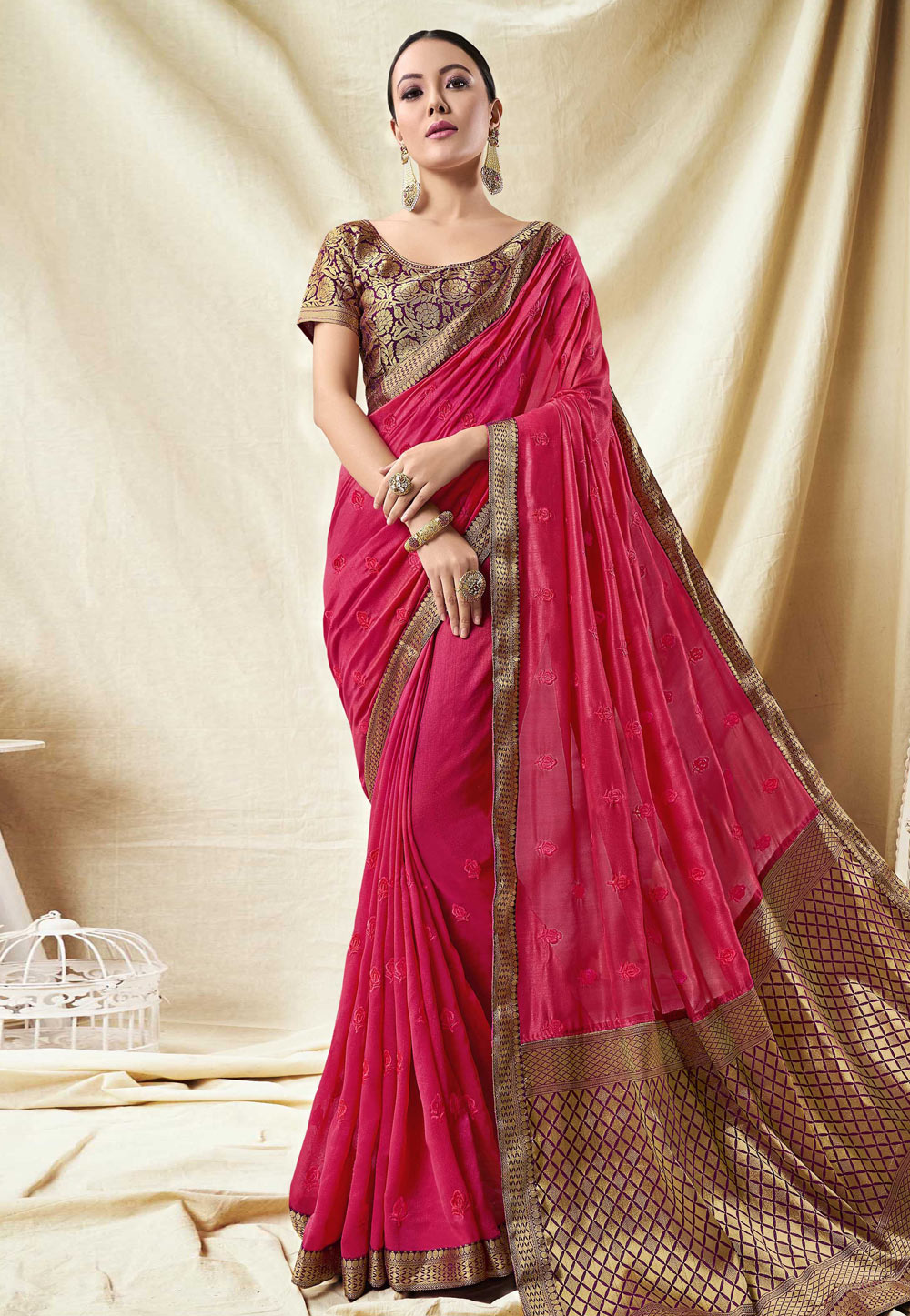 Magenta Silk Festival Wear Saree 165461