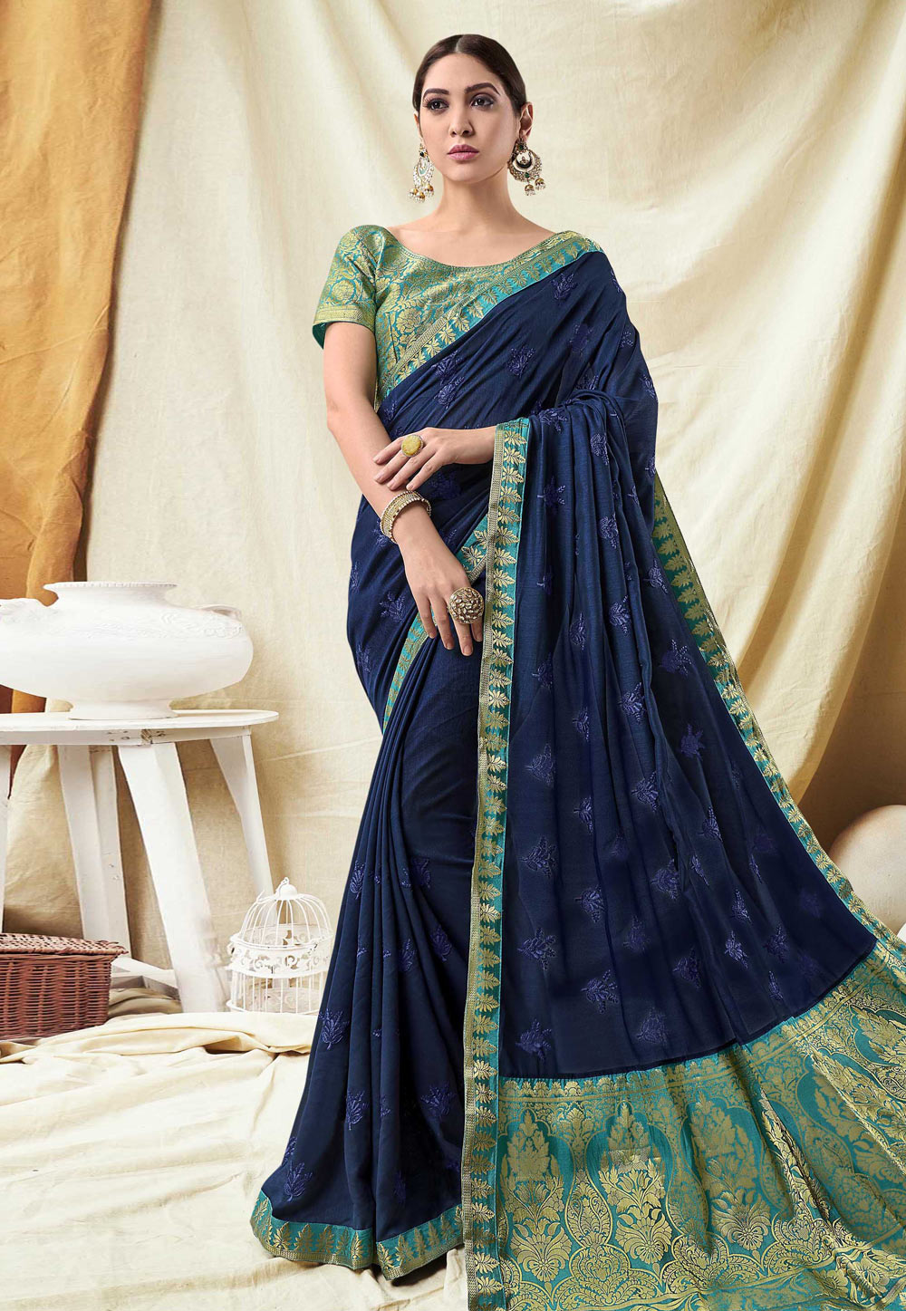 Blue Silk Festival Wear Saree 165463