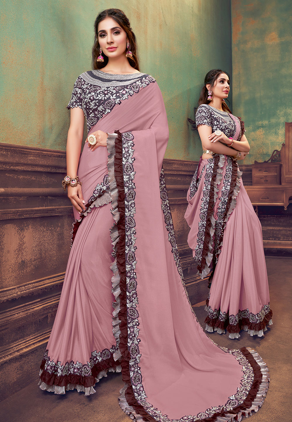 Pink Silk Ruffle Border Saree With Blouse 211120