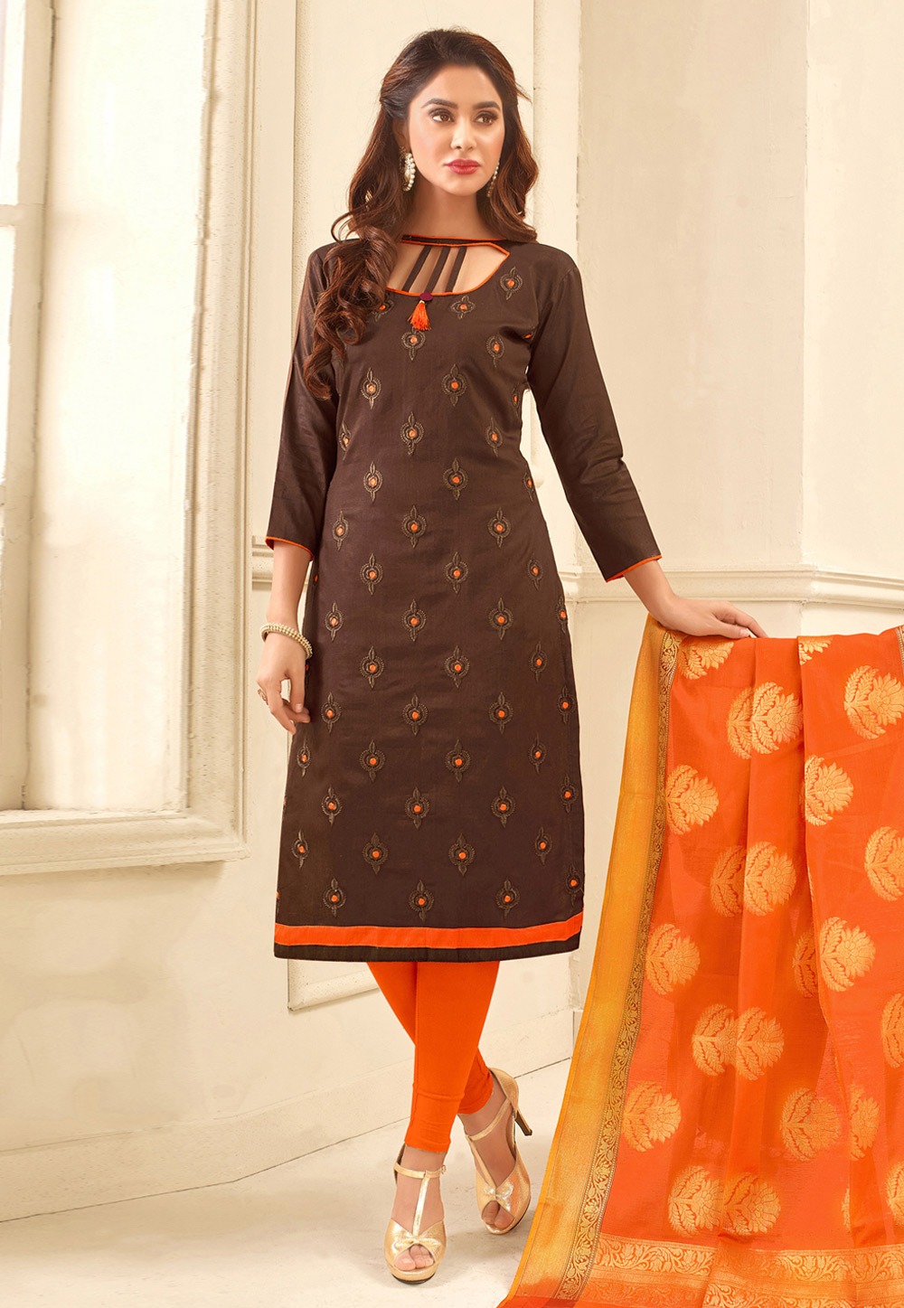 Brown Glace Cotton Churidar Suit 165967