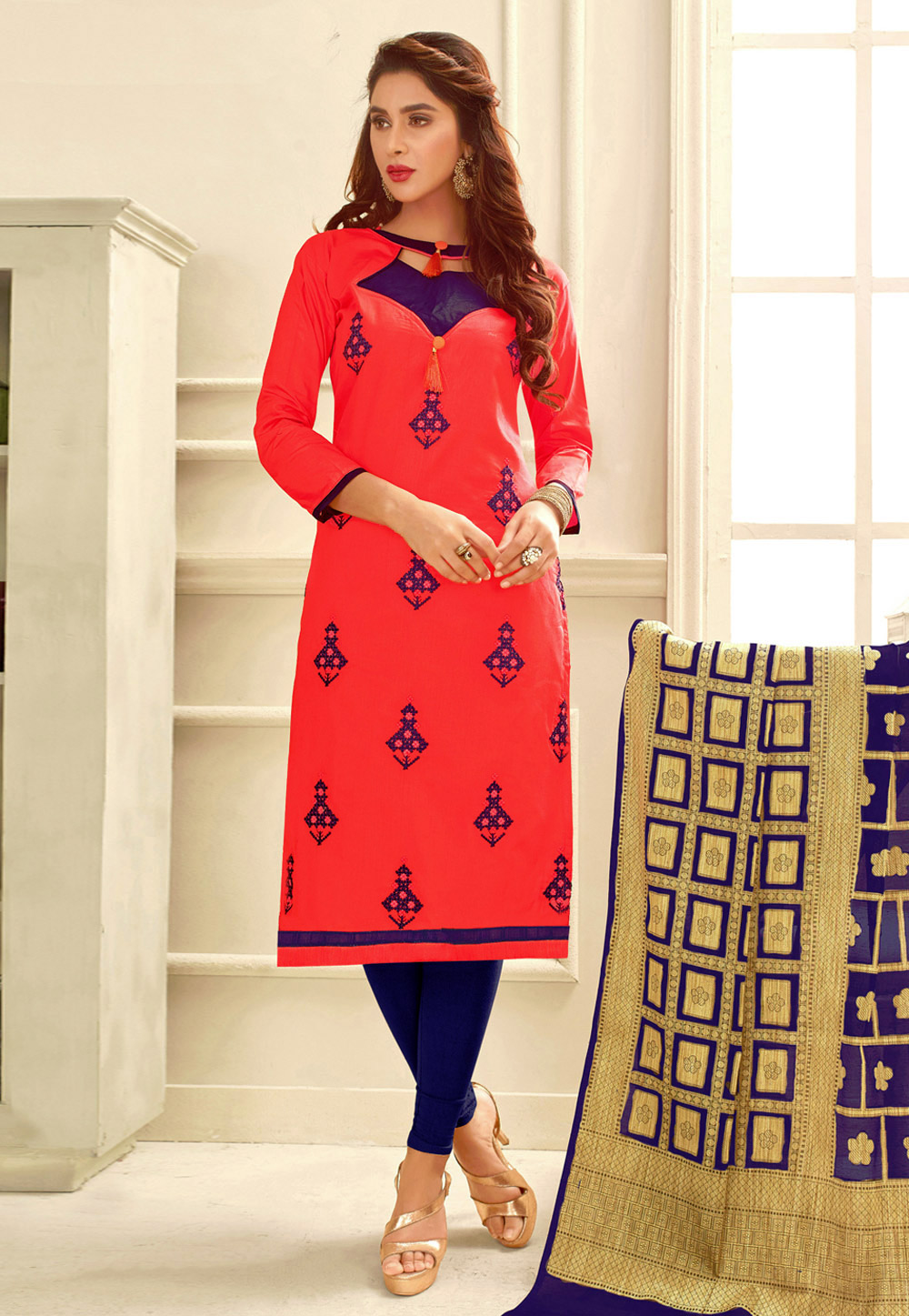 Shaded Red Glace Cotton Churidar Suit 165969