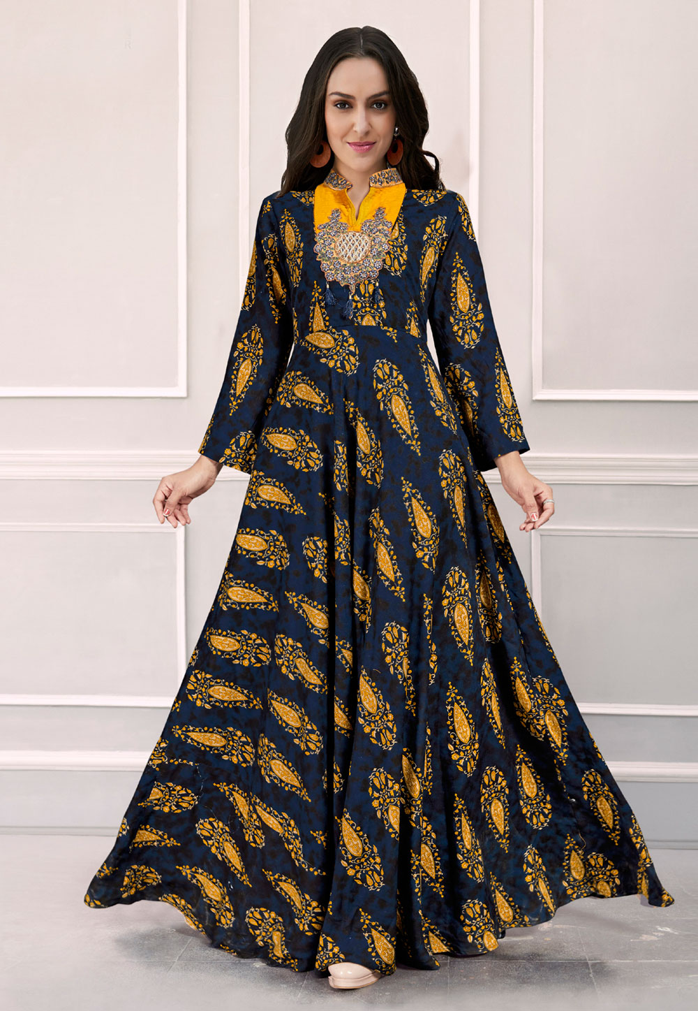 Navy Blue Rayon Flared Gown 165815