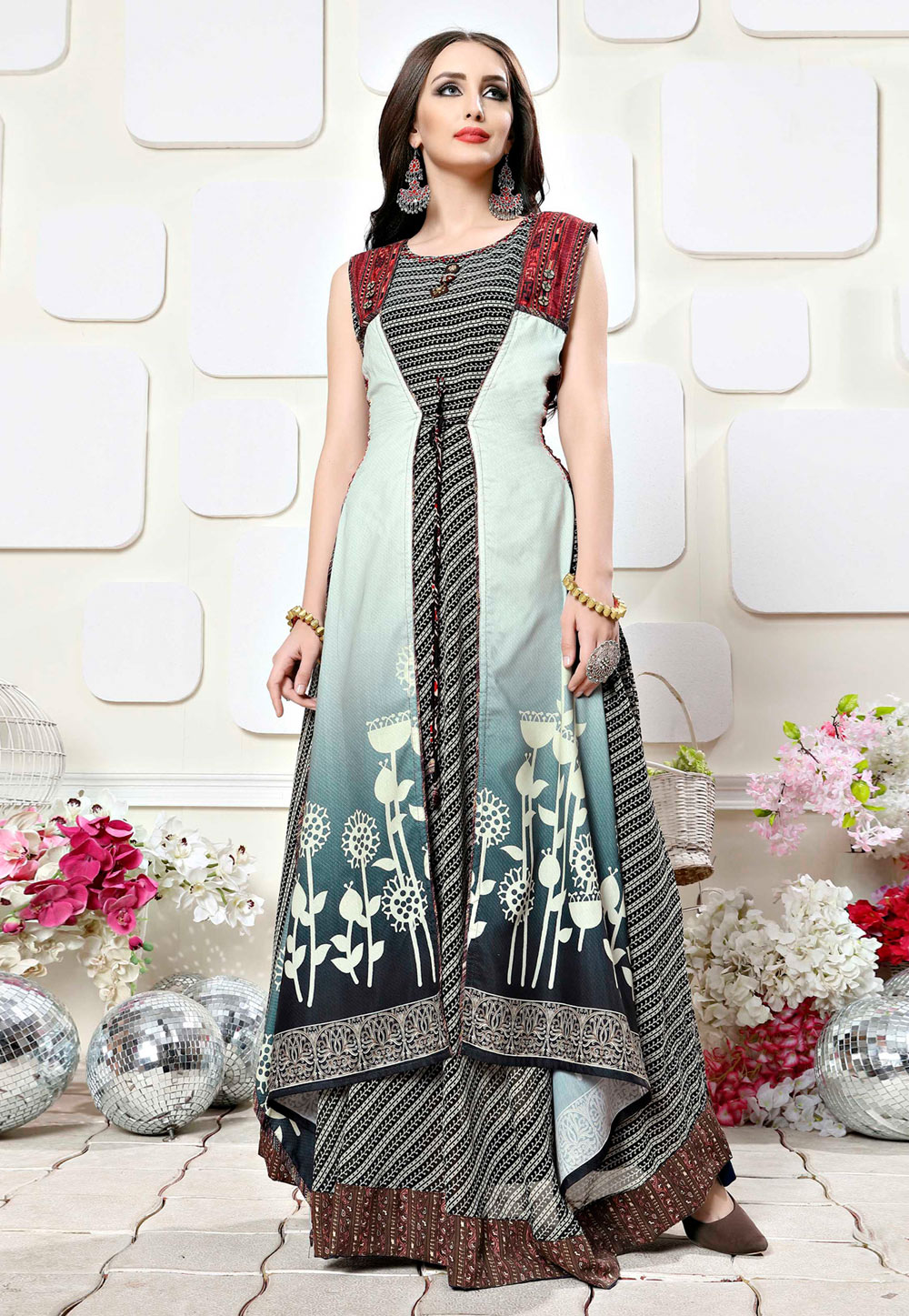 Grey Georgette Readymade Gown With Jacket 165939