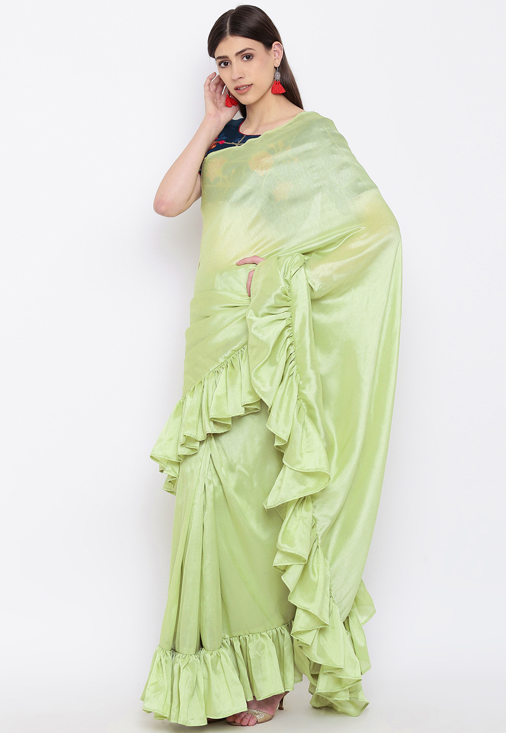 Pista Green Silk Ruffle Border Festival Wear Saree 166322
