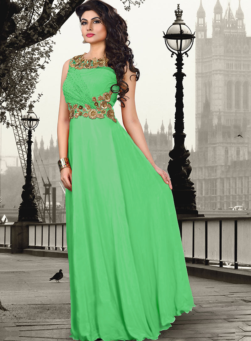 Green Pure Crepe Party Wear Gown 56825