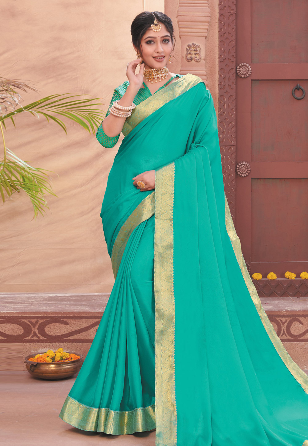 Turquoise Chiffon Saree With Blouse 208986
