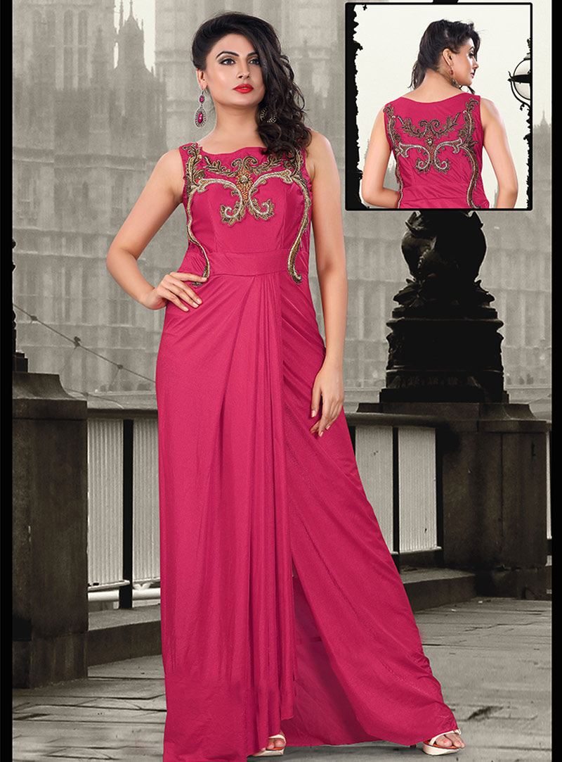Pink Pure Lycra Party Wear Gown 56843