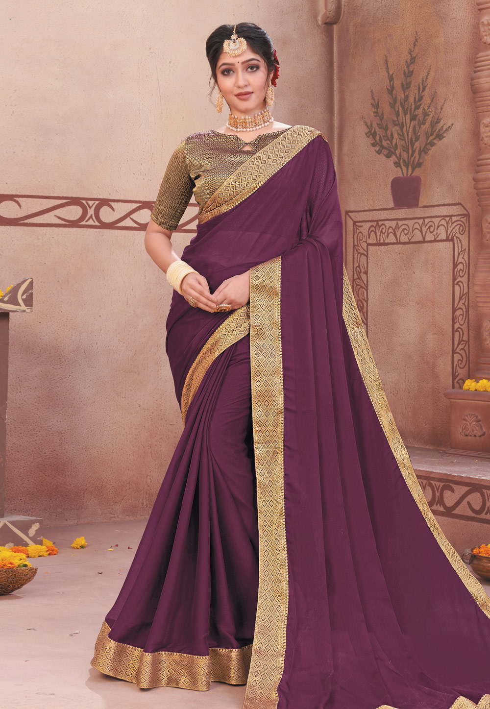 Purple Chiffon Saree With Blouse 208992