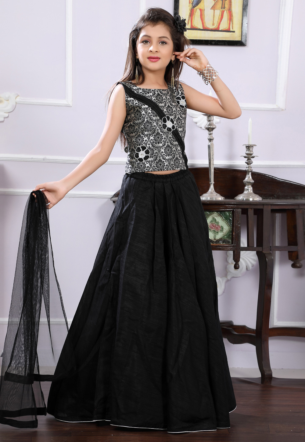 Black Brocade Readymade Kids Lehenga Choli 171690