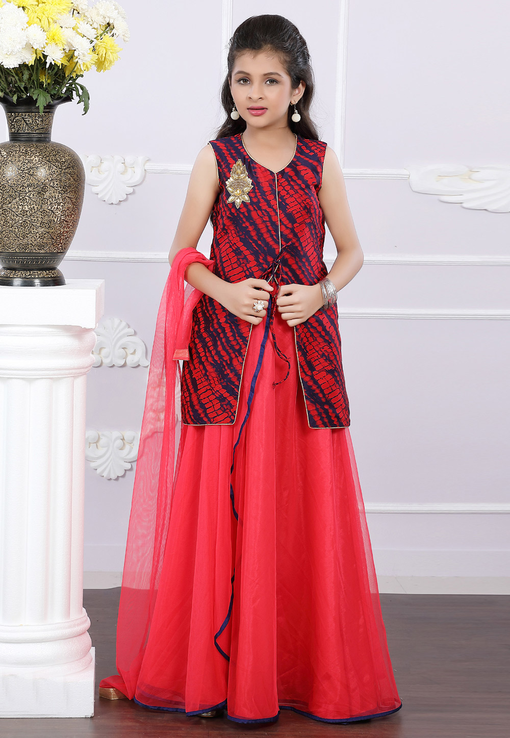 Red Art Silk Readymade Kids Lehenga Choli 171699