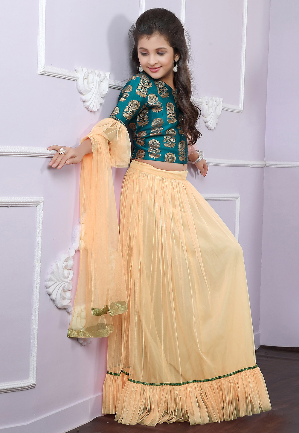 Cream Brocade Readymade Kids Lehenga Choli 171700
