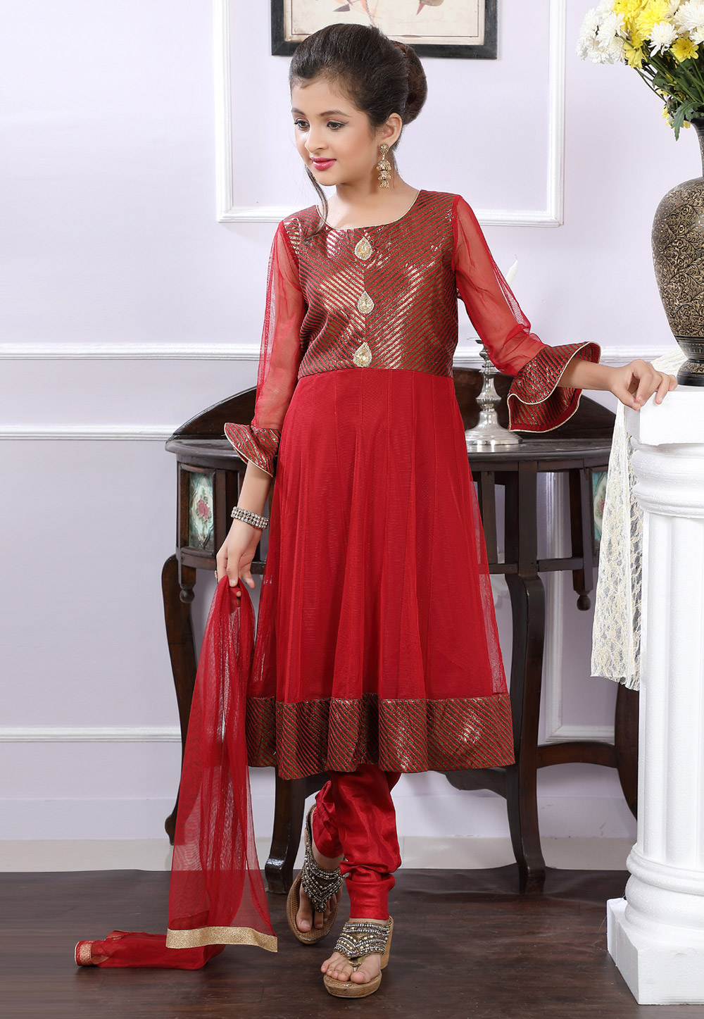 Red Net Readymade Kids Salwar Kameez 171708