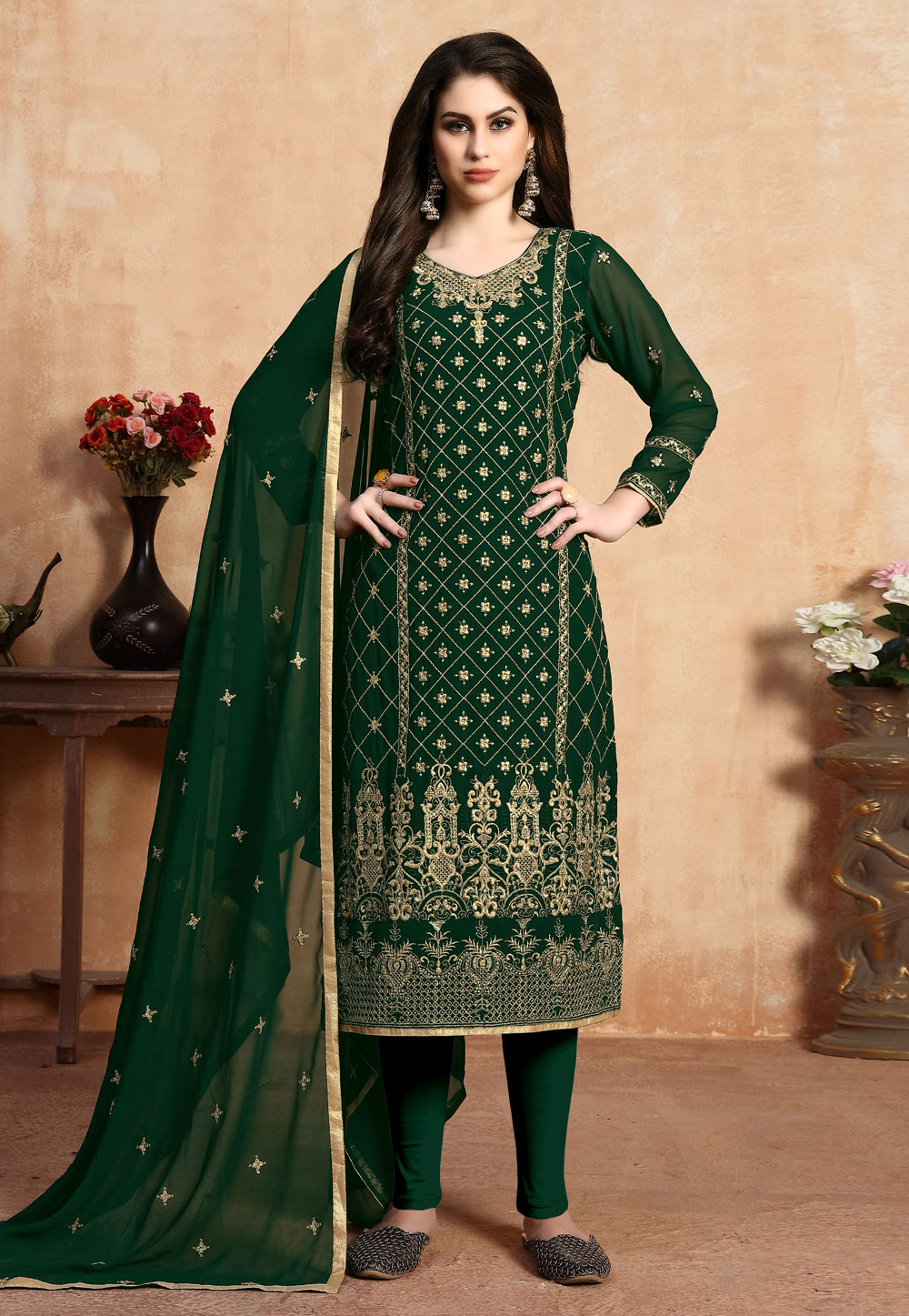 Green Faux Georgette Pant Style Suit 200933