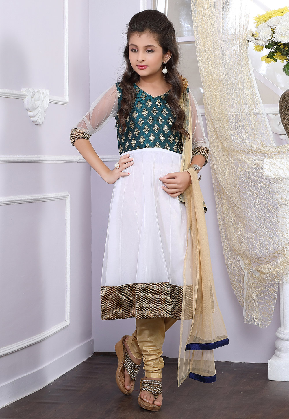 White Net Readymade Kids Anarkali Salwar Kameez 171712