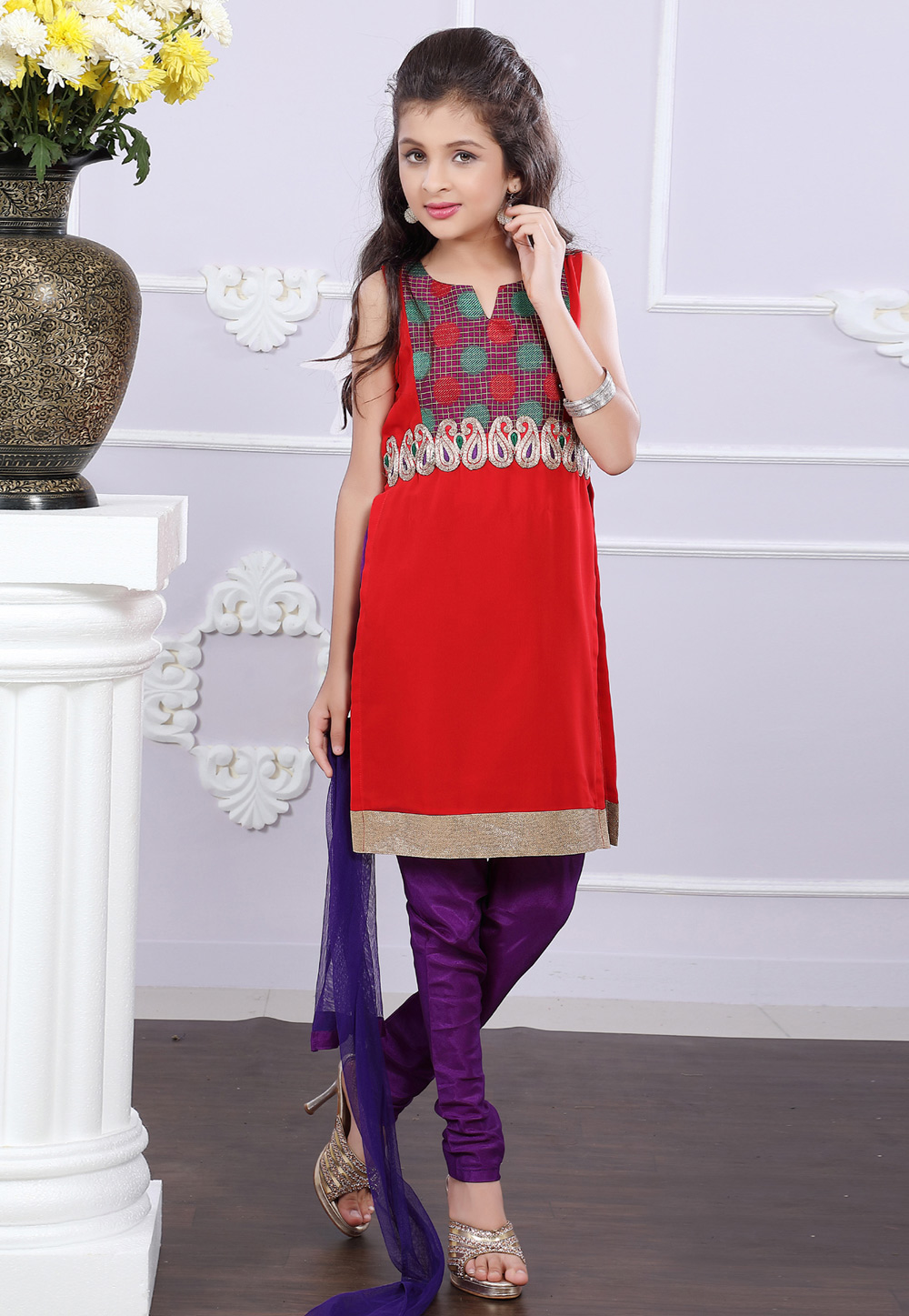 Red Georgette Readymade Kids Salwar Kameez 171721