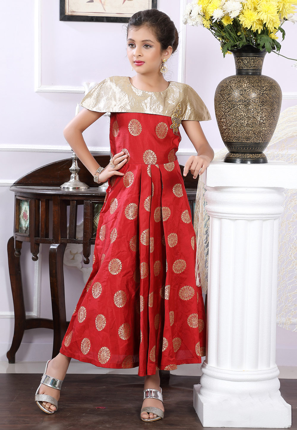 Red Brocade Readymade Kids Gown With Cape 171728