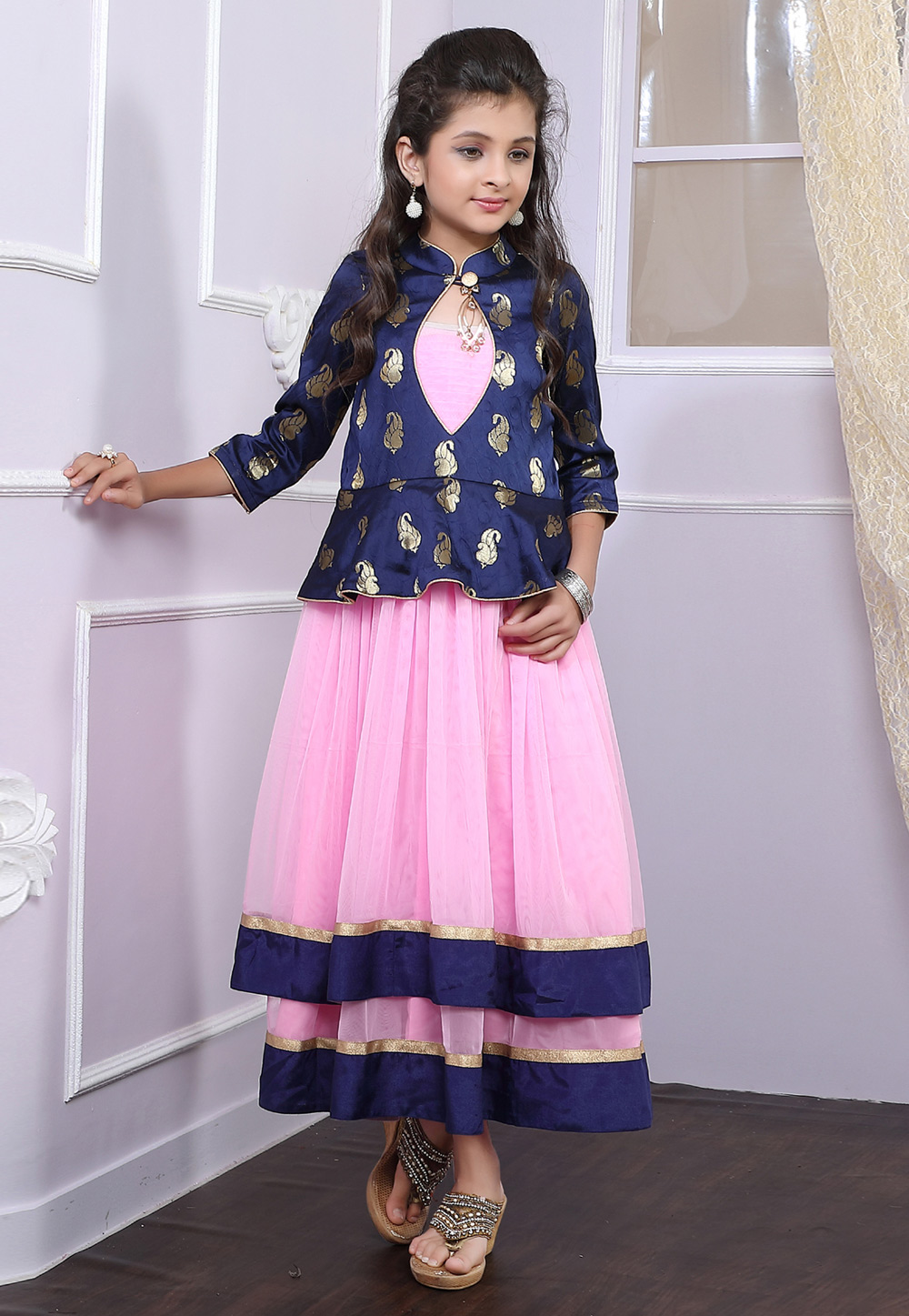 Pink Net Readymade Kids Gown 171729