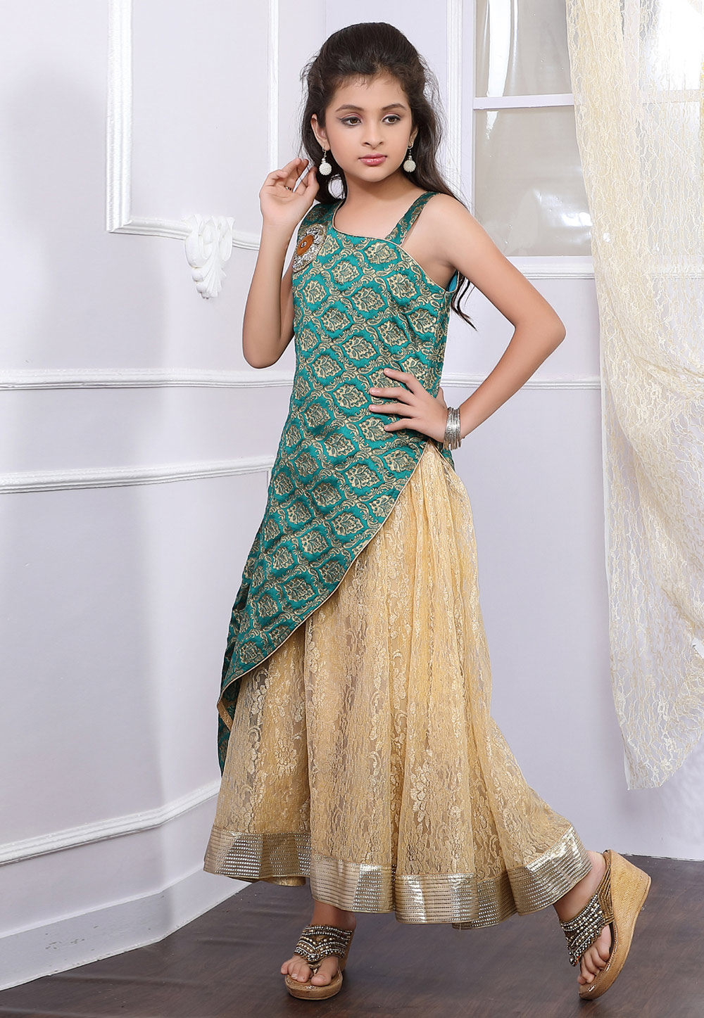 Teal Brocade Readymade Kids Gown 171730
