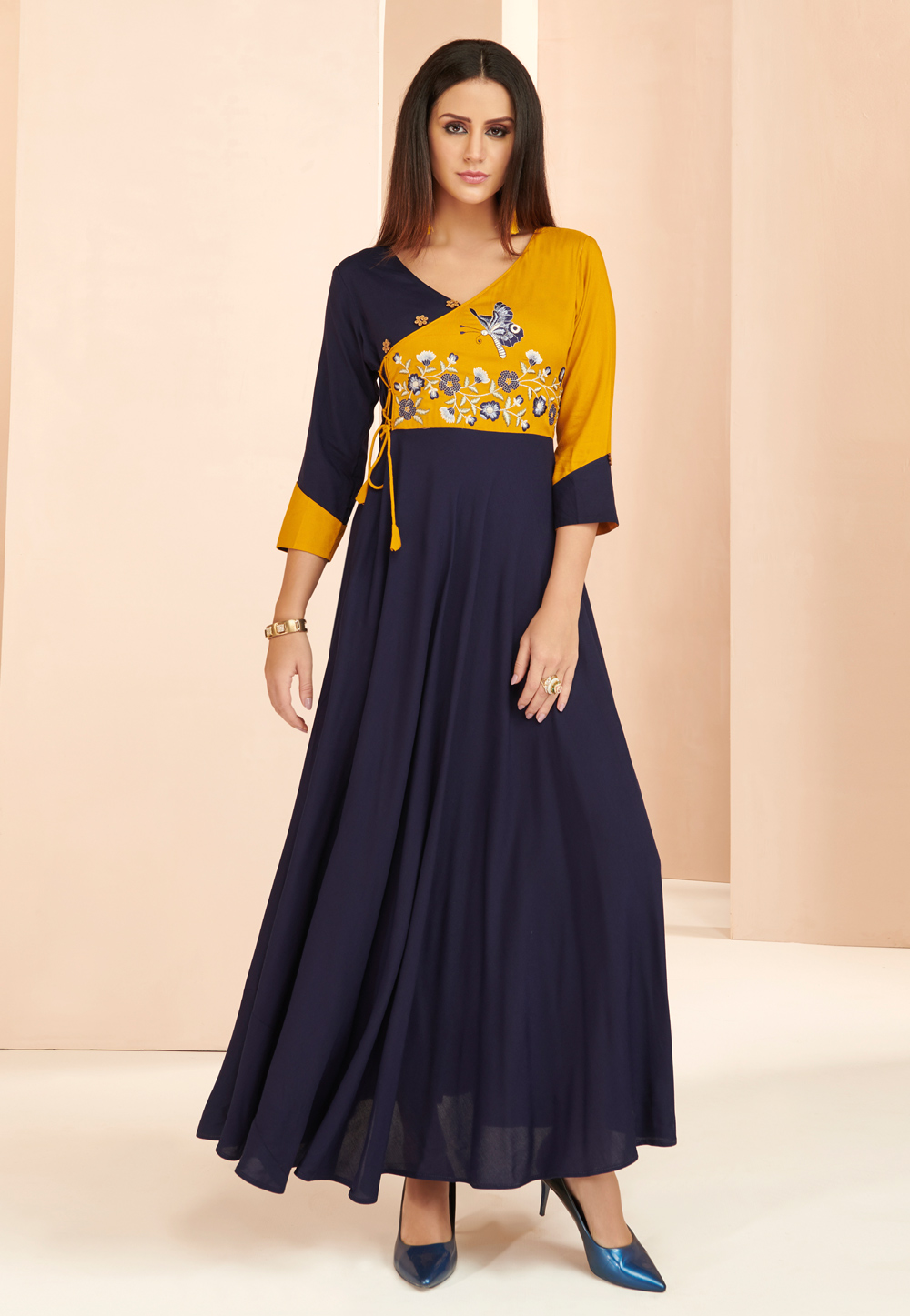 Navy Blue Rayon Readymade Gown 177660