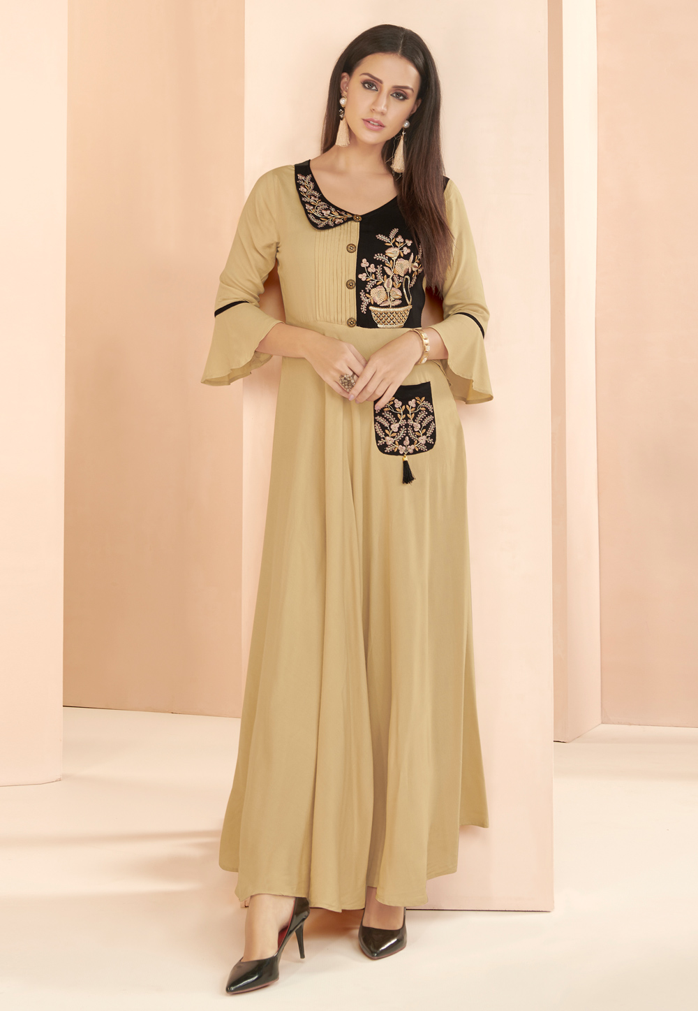 Beige Rayon Readymade Gown With Frill Sleeve 177661