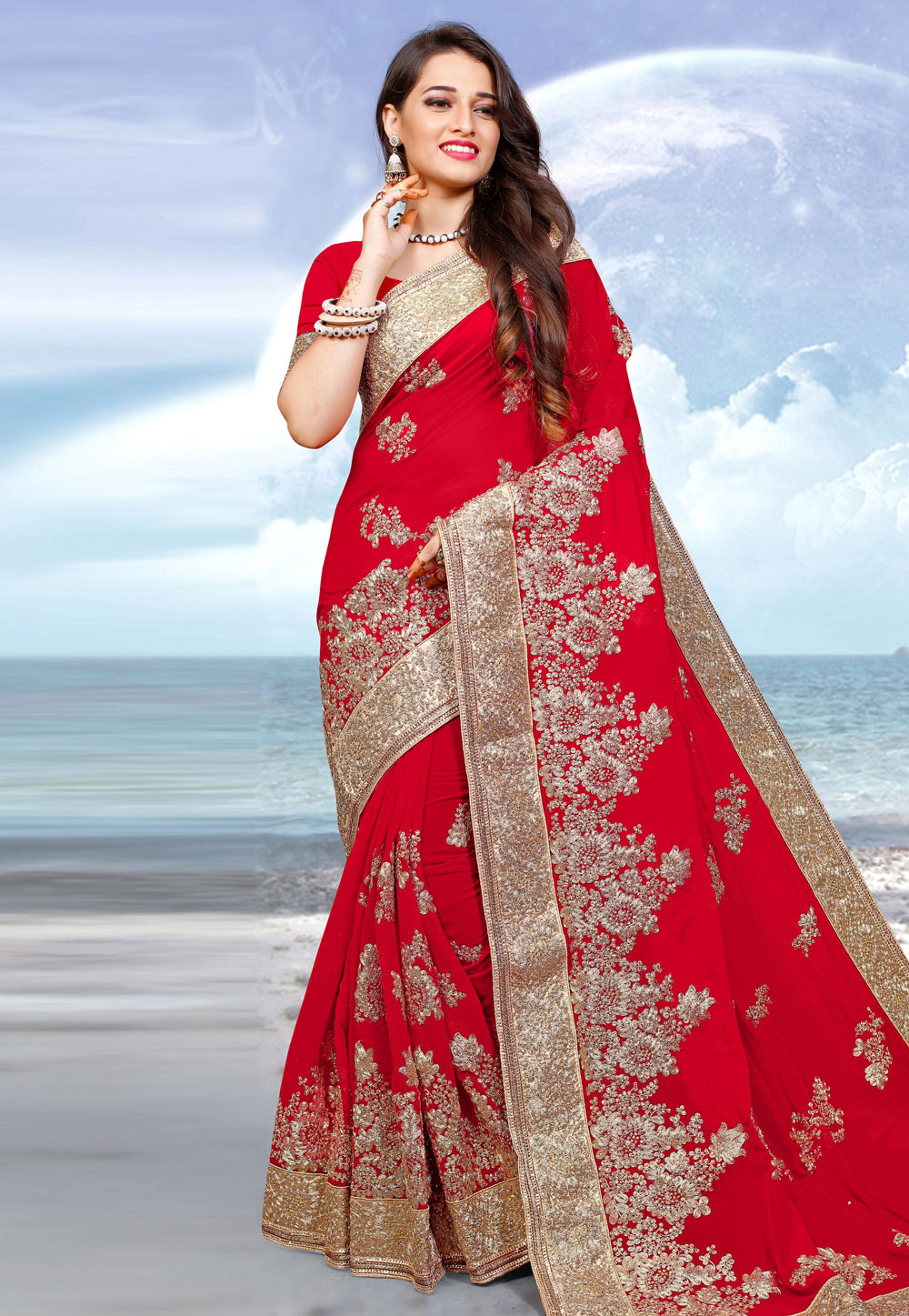 Red Georgette Saree With Blouse 205662