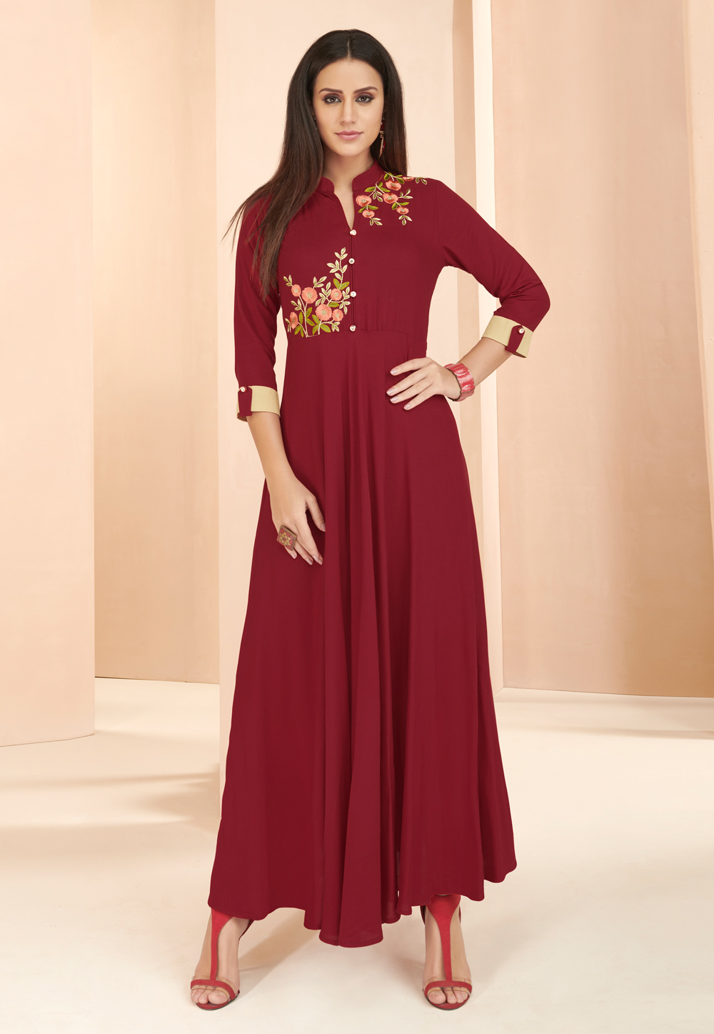 Maroon Rayon Readymade Gown 177662