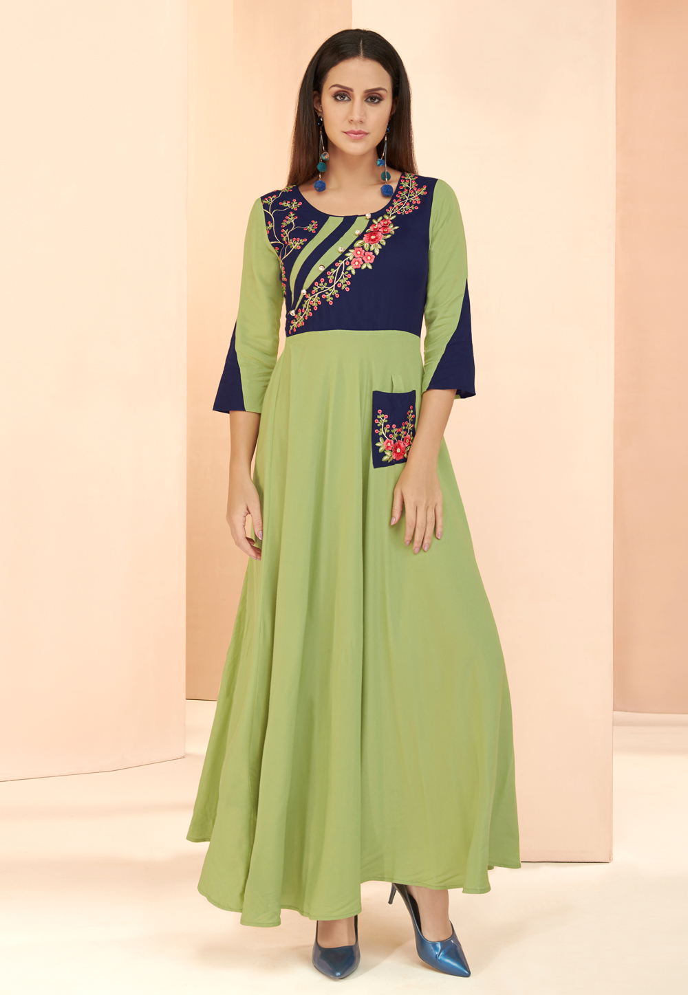 Light Green Rayon Readymade Gown 177663