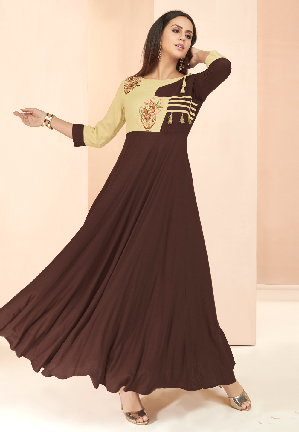 Brown Rayon Readymade Gown 177664